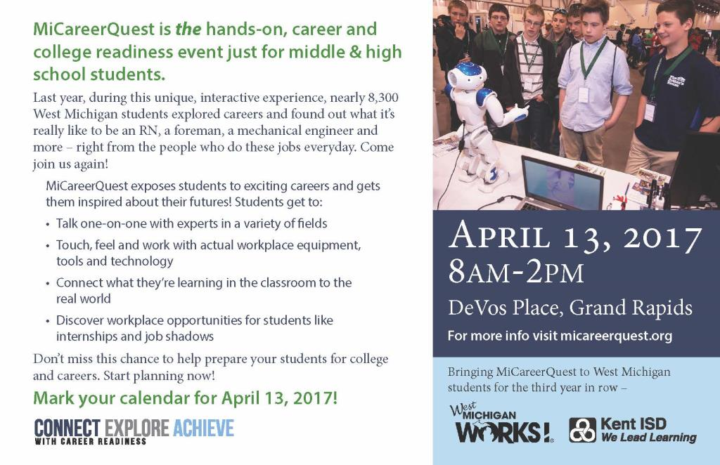 Save the Date card, describing Career Quest scheduled on April 13, 2017, at DeVos Place, Grand Rapids, MI, from 8 am - 2 pm.