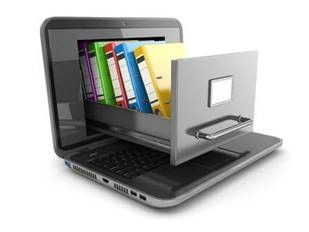 Image of laptop with a file cabinet drawer and colorful files coming out of the screen