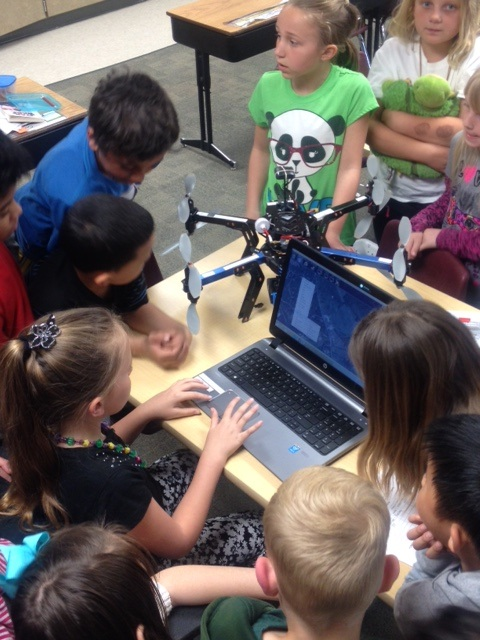 Elementary students program a drone
