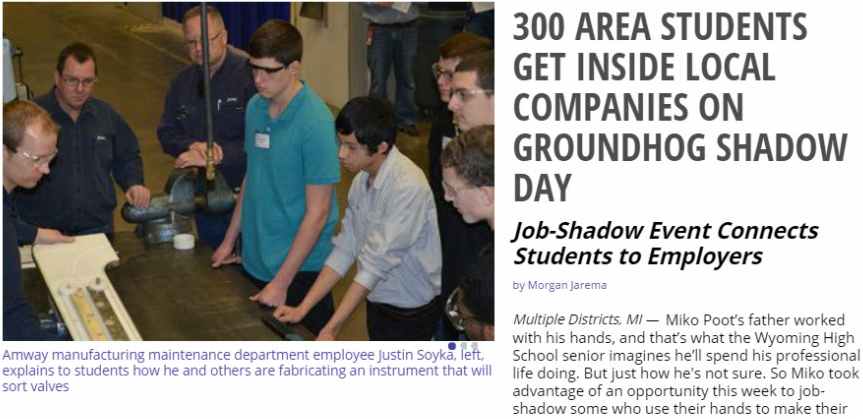 Read the School News Network Story: 300 Area Students Get Inside Local Companies on Groundhog Shadow Day
