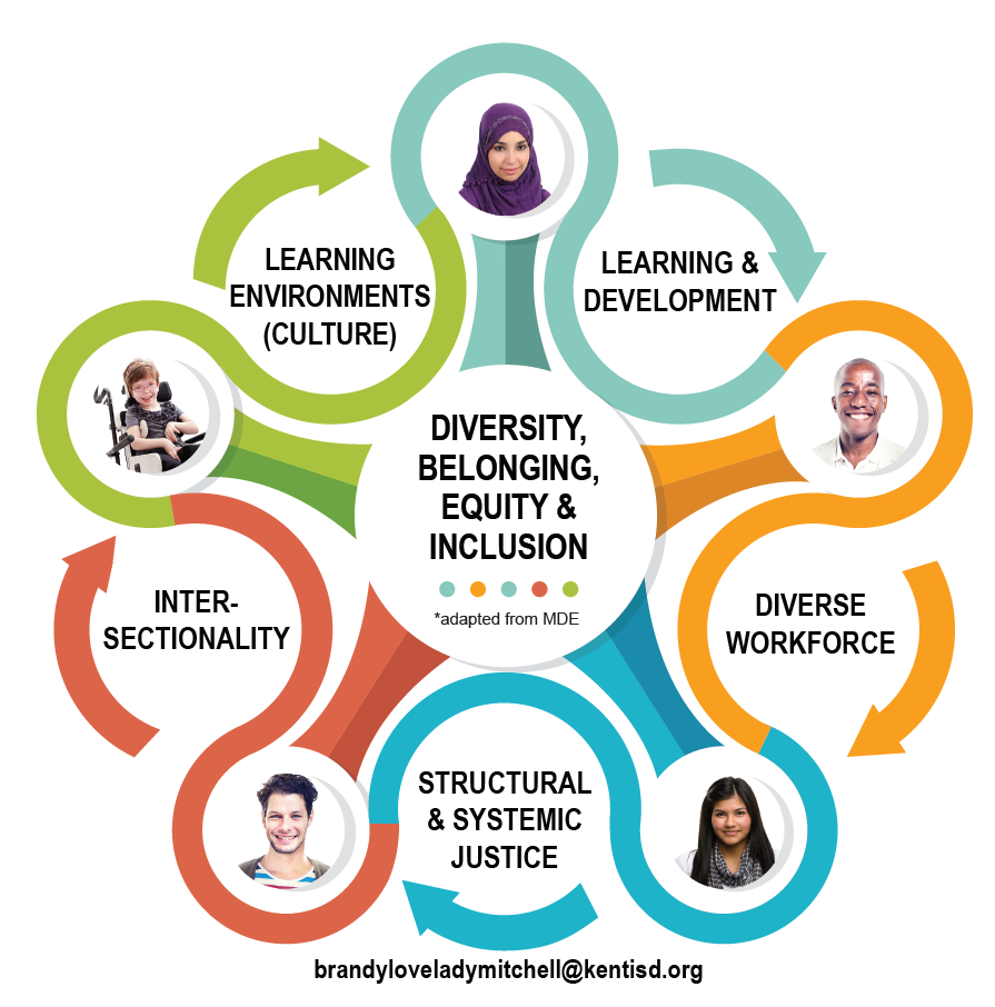 Diversity, Belonging, Equity & Inclusion are the Guiding principles in the center and Learning & Development, Diverse Workforce, Structural & Systemic Justice, Intersectionality, and Learning Environments (culture) surround those principles and represent action areas