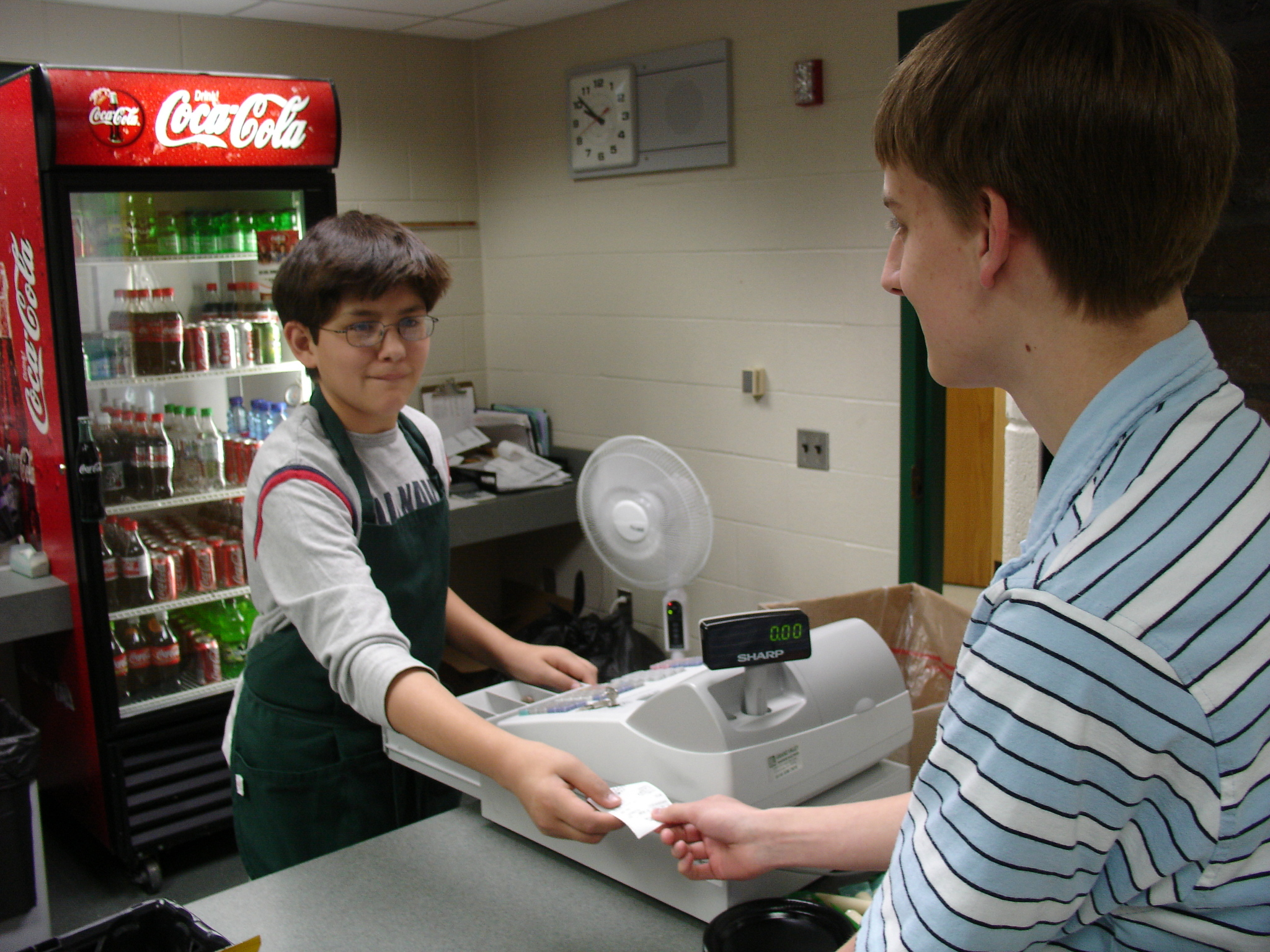KTC Retail Marketing student serving student at snack counter